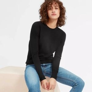 Everlane Luxe Wool Crew Black Pullover Sweater XL